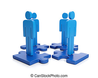 3d Illustration: Business Partnership Search for the head of...