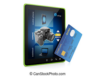 3d illustration: Sale and purchase. Online store on a Tablet...