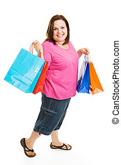 Bargain Shopper - Pretty plus sized woman excited about...