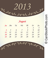 calender for 2013 - august
