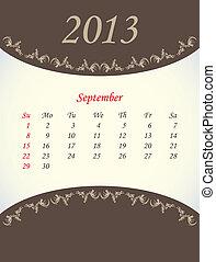 calender for 2013 - september