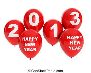 Ballons, groupe, Fetes, illustration:, année, Evénements,...