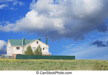 Nice country-house - Nice modern country-house on background...