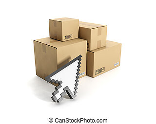 3d illustration: Business Internet technologies. Boxes and mouse cursor