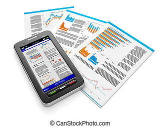 3d illustration: Business news on mobile phone. The group of documents and mobile phone