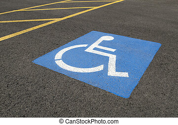 Handicapped Parking Symbol in Parking Lot