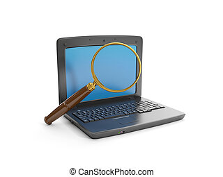 3d illustration: A laptop and a magnifying glass to find the...