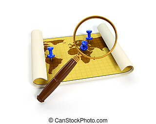 3d illustration: map for travel and a magnifying glass...