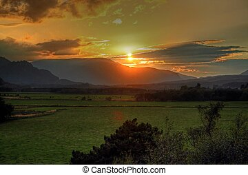 Scottish sunset - View of sunset in Scottish Highlands near...