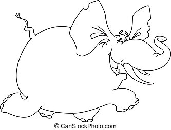 elephant funny outlined