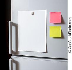 vacío, papel, hoja, refrigerador, puerta