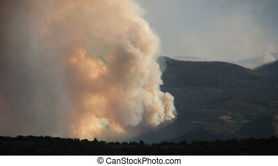 Raging Forest Fire - a mountain wildfire raging in the utah...