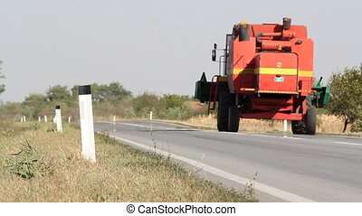 combine on the road