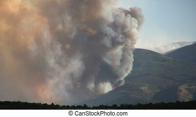 Mountain Wildfire - a mountain wildfire raging in the utah...