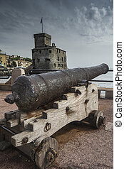ancient cannon in front of the castle of Rapallo