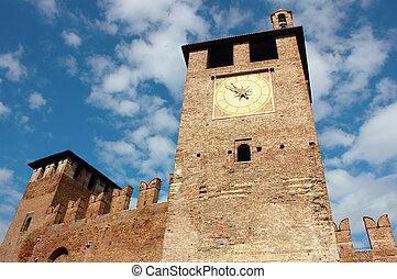 Castelvecchio in Verona - Red bricks facade and entrance of...