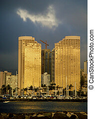 Yacht Harbor towers,Honolulu,dusk