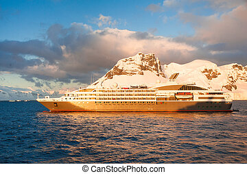 Cruise ship in Antarctica - This shot was made during...