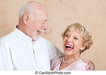 Seniors Laughing Together - Senior couple in love, still...