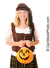 Pretty Pirate on Halloween - Pretty teenage girl dressed as...
