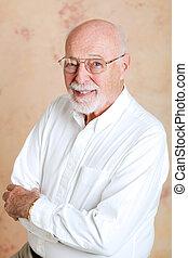 Portrait of Intelligent Senior Man - Portrait of a handsome,...