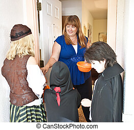 Passing out Halloween Candy