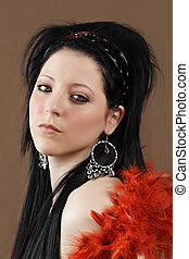 woman with feather boa - beautiful young woman with red...