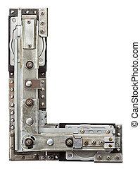 Metal letter - Industrial metal alphabet letter L