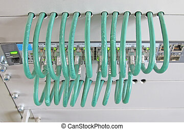 network cable in a rack of data processing center