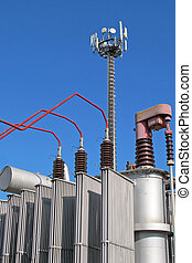 electricity transformer and an antenna for the transmission of signals