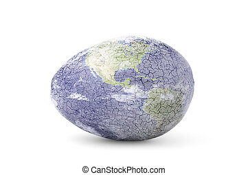 Finely Cracked Earth Egg on White
