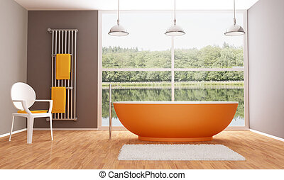 Brown and orange modern bathroom - Orange bathtub in a...