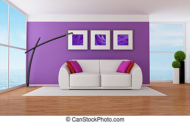 Purple lounge - Minimalist purple living room with white...