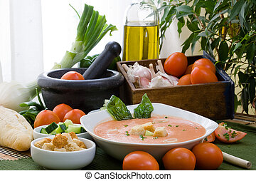 cold soup - Gazpacho is cold soup typical Spanish cream that...