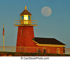 Santa Cruz Lighthouse full moon - Santa Cruz lighthouse with...