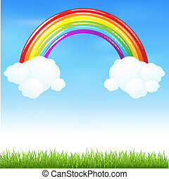 Colorful Rainbow With Grass And Cloud, Vector Illustration
