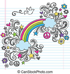 Rainbow Peace Love Sketchy Doodles - Rainbow and Peace Dove...