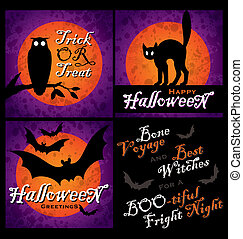 grungy Halloween designs vector - set of 3 grungy Halloween...
