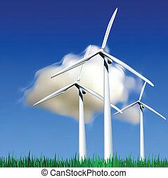 Wind Generators Vector illustration - Wind Generators over...