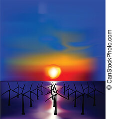 Wind generators electricity at sunset. Vector