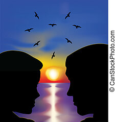 Couple in love at sunset. Vector