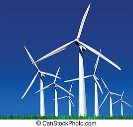 Wind Generators. Vector illustration - Wind Generators over...