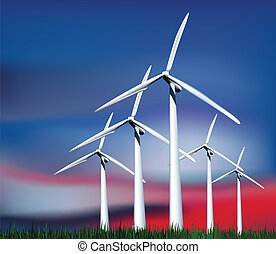 Wind Generators in the sky with grass. Vector illustration