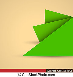 Creative Christmas tree formed from pieces of paper Vector...