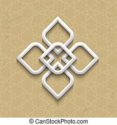 3d pattern in arabic style on grunge background. Vector...