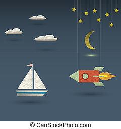 Retro rocket and sailboat