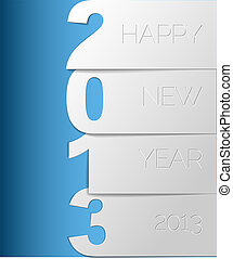 Happy New Year 2013 vector card - Blue and white Happy New...