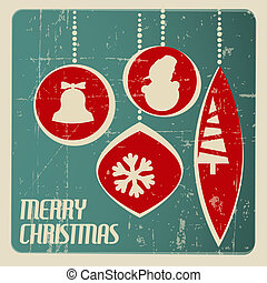 Retro Christmas card with christmas decorations - teal and...