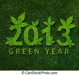 Happy new year 2013, ecology conceptual image for 2013 year