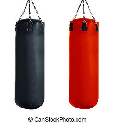 Punching bag for boxing or kick boxing sport, isolated on...